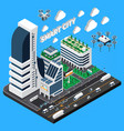 smart city isometric composition vector image vector image