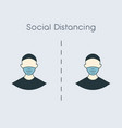 social distance icon measure protection from vector image vector image