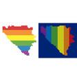 spectrum pixel dotted bosnia and herzegovina map vector image