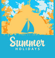 summer travel banner with color spots and sailboat vector image