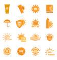 sunscreen sun protect logo icons set flat style vector image