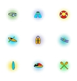 Swimming on water icons set pop-art style vector image vector image