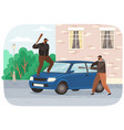 two young vandals destroy car bandits vector image