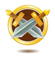 wooden shield with golden frame and swords vector image vector image