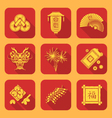 yellow color flat style chinese new year icons set vector image