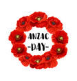 anzac day memorial wreath icon of red poppy flower vector image