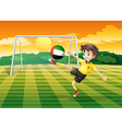 A female player kicking the ball from the United vector image