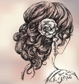 beautiful girl bridal hairstyle vector image vector image