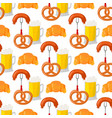 beer glass pretzel seamless pattern vector image vector image