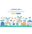 Business hero line flat design banner with vector image vector image