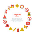 cartoon lifeguard signs banner card circle vector image