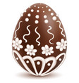 chocolate sweet decorated with white icing egg vector image vector image