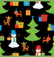 christmas background with funny snowmen and pets vector image