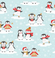 christmas sweet little penguin pattern vector image