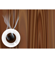 coffee cup against wooden background vector image vector image