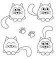 cute cat and footprint icons isolated on white vector image