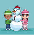 cute kids with winter clothes vector image vector image
