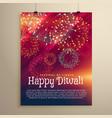fireworks background flyer template for diwali vector image vector image