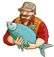 Fisherman with fish vector | Price: 3 Credits (USD $3)