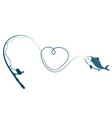 fishing rod heart and fish vector image vector image