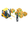 forklift car driver man back view cardboard vector image