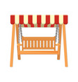 Garden wooden swing with striped awning