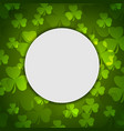 green shamrock clovers st patrick day vector image