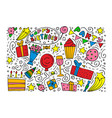 hand-drawn set of birthday ink doodles vector image