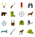 Hunting icons set in flat style vector image vector image