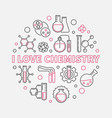i love chemistry outline round vector image vector image