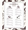 italian menu - color hand drawn composite menu vector image vector image