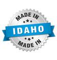 made in Idaho silver badge with blue ribbon vector image vector image
