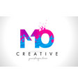 mo m o letter logo with shattered broken blue vector image vector image