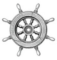 old steering wheel ship hand drawing vintage style vector image