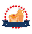 pancakes with maple syrup frame vector image vector image