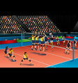 people playing volleyball in the competition vector image