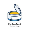 pet can food line color icon vector image vector image