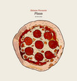 pizza salame hand draw sketch vector image vector image
