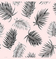 royal palm tree leaves seamless pattern black pink vector image vector image