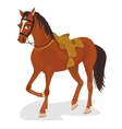 saddled horse standing on white background vector image vector image