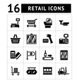 Set icons of retail and supermarket equipment vector image vector image