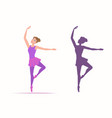 set woman dancer and her silhouette on a white vector image vector image