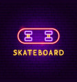 skateboard neon label vector image vector image
