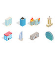 sky tower icon set isometric style vector image vector image