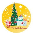snowman Christmas tree and gifts vector image vector image