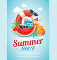 summer beach party invitation poster background vector image vector image