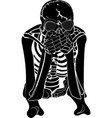the skeleton covers the mouth with hands vector image