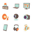 tidings icons set cartoon style vector image vector image