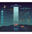 UFO infographic with disk beam abducting cow vector image vector image