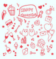 valentine in love doodle hand drawn vector image